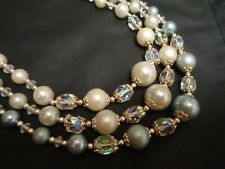 Vintage JAPAN Multi 3 Strand White & Blue Faux Pearl AB GLASS Beaded Necklace