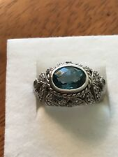Judith Ripka Sterling Silver London Blue Topaz And CZ Ring Size 7