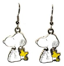 SNOOPY AND WOODSTOCK CHARM FISHOOK DROP DANGLE EARRINGS SILVER IN GIFT BAG