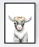 Baby Goat With Flower Print, Cute Animal Print, Nursery Wall Art, Baby Shower