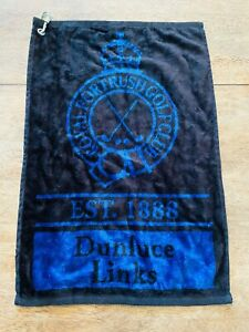 Royal Portrush Golf Club Black Blue Unused Cart Sized Soft Microfiber Towel Mint