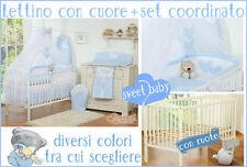 Lettino bimbo culla neonato bianco/marrone con ruote + materasso + set 5 pezzi