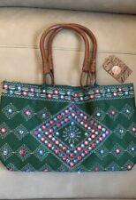 Embroidered Silk Blend Mirror Handbag~Purse~Tote~Shopping Evening Bag From India