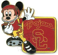 Disney Pin 56522 NCAA Football Team Series USC in Uniform Mickey Mouse End Zone