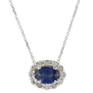 "White Gold Sapphire & Diamond Halo Necklace 18 1/4"" - 14k Oval Cut .91ctw"