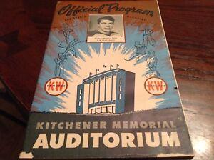 BOBBY HULL 1954-55 GALT BLACKHAWKS VS KITCHENER CANUCKS NHL HOCKEY PROGRAM