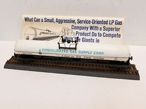 Rare HO Upgraded Athearn Consolidated Gas Supply Corp. 62' Tank Car, Track, Box
