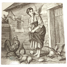 Antique Victorian Minton William Wise Girl Feeding Chickens Tile
