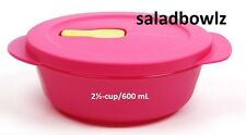 TUPPERWARE CRYSTALWAVE SMALL ROUND CONTAINER Lunch Bowl 2 1/2 Cup Pink! fREEsHIP