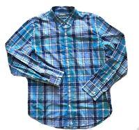 BONOBOS Slim Fit Men's Button Front Shirt Blue Teal Plaid Checkered Size XL