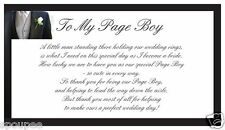 TO MY PAGE BOY MAGNET POEM FROM THE BRIDE wedding black white 50x90mm CHILD GIFT
