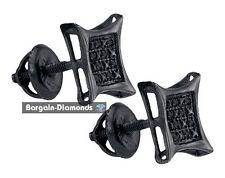 black diamond .05 carat gunmetal black kite screwback stud earrings Men unisex