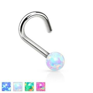 New Surgical Steel Nose Hook Screw Stud with 2mm Opal Ball Top Blue Rainbow Pink