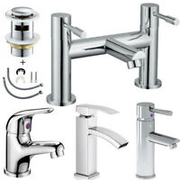 Basin Mixer Mono Tap Bathroom Sink Bath Filler Square Cloakroom Taps Set & Waste