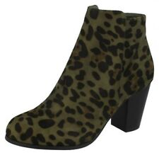 F5R0962- Ladies Spot On Khaki Leopard Print Heeled Ankle Boots Zip Fastening