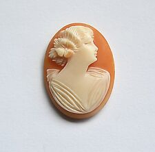 Art Deco unset Shell CAMEO  Pendant BROOCH Italy Hand Carved Shell Disc