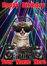 Cat Kitten j561 Clubbing Cool DJ Fun Cute Personalised Birthday card