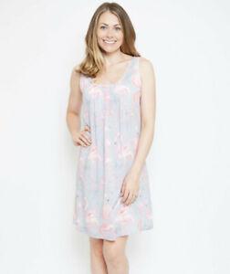 Ladies Womens Grey & Pink Flamingo Summer Chemise Nightdress ~ SIZE 8 10