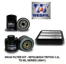 WESFIL WK49 Air Oil Fuel Filter Kit For Mitsubishi Triton 3.2L TD ML Diesel 4M41
