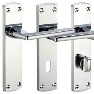 Leon Internal Door Handle Sets Lever On Backplate Polished / Satin Chrome Handle