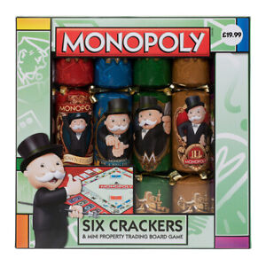 Rare - Hasbro Licensed Monopoly Novelty Christmas Crackers Board Game Set of 6