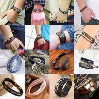 Fashion Leather Wrap Braided Wristband Cuff Punk Style Men Women Bracelet Bangle