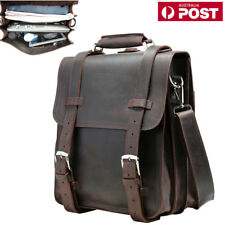 "Thick Bull Leather Men Briefcase 14"" Laptop Travel Backpack Shoulder School Bag"