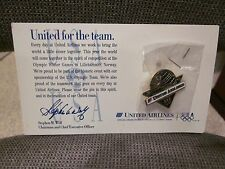 OFFICIAL UNITED AIRLINES PIN FOR THE 1984 OLYMPIC WINTER GAMES WITH CARD