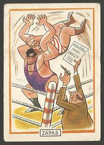 Sport, Wrestling Caricature, Postcard 1966