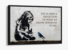 BANKSY LITTLE GIRL BLUE BIRD QUOTE -FLOAT EFFECT CANVAS WALL ART PIC PRINT-