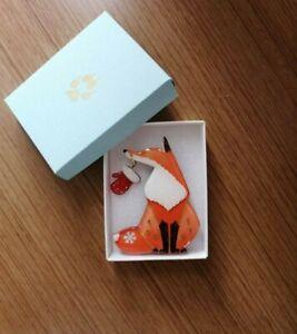Fox finds Christmas gloves PIN BROOCH Orange JPN Artist Animal Accessory
