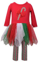 Bonnie Jean Girls Christmas Candy Cane Holiday Dress & Leggings Set 2T 3T 4T New