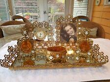 Vintage Brass Ormolu Vanity Set - Tray, Clock, Frame, Perfume, Jewelry Box