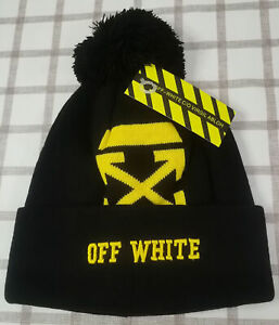Off White Beanie Hat Winter Cap Black NWT