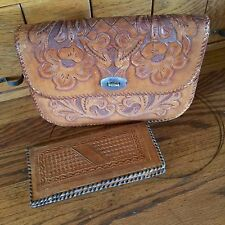 Vintage 1950's-60's Hand Tooled Leather  Purse with Roses Initials PCH w Wallet