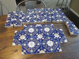 Antique Ceramic Cobalt Fireplace Tiles Art Nouveau Majolica Japan LOT of 120 Vtg