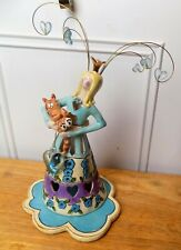 "Blue Sky Clayworks 2004 ""Queen Of Cats"" By Heather Goldminc With Candle Plate"