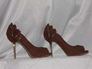 WOMEN'S SHOE SIZE 8.5 CLASSY BROWN GOLD ANNE MICHELLE HEELS SUEDE SEXY PARTY NEW