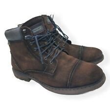 Pikolinos Men's York Size US 9 Taupe Distressed Suede Cap Toe Boots Brown