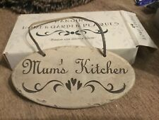 Mum ' s kitchen ceramic oval wall hanging plaque
