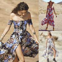 Women Summer Cold Shoulder Short Sleeve Floral Flare Asymmetrical L Party Dress