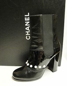 Chanel Black Patent Leather Pearl Ankle Short Booties Boots Shoes 39 - $1595 NIB