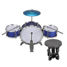 Kids Junior Jazz 3 Drum Kit Musical Set Children Mini Big Band Play Toy & Stool