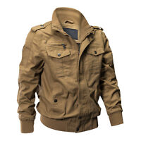 Mens Flight Bomber Jackets Cotton Casual Jacket Military Cargo Airborne Coat Man