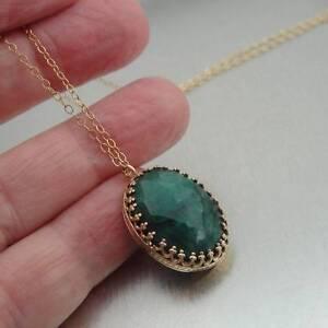 Hadar Designers Fab Filigree 14k Yellow Gold Fil Green Emerald Pendant (I n843)