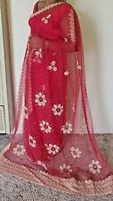 Dark Red and Gold Ready Made Net Material Sari ( Saree ) With Blouse and Skirt W
