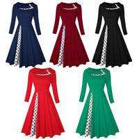 50s 60s Women Vintage Retro Polka Dot Rockabilly Swing Pinup Evening Party Dress