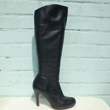 Topshop Leather Boots Size UK 6 Eur 39 Womens Pull on Platform Black Boots