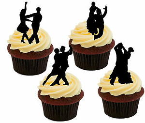 Ballroom Dancing Silhouettes Edible Cupcake Toppers - Stand-up Cake Decorations