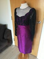 Ladies Dress Size 12 PETER MARTIN Purple Black Lace Wiggle Party Evening
